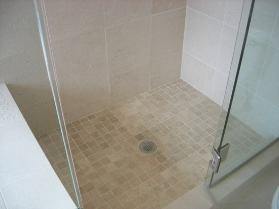 framesless glass shower and