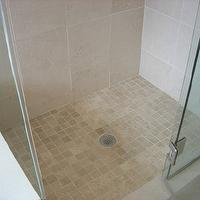bathrooms - suzie, tumbled marble, tiles, frameless, glass, shower, Italian, marble, tumbled marble, tumbled marble tiles, tumbled marble tile shower, tumbled marble tile shower floor, tumbled marble shower, tumbled marble shower floor, Crema Marble Tiles, Tumbled Marble Tiles,