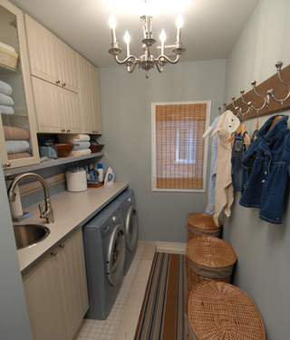 Sarah Richardson Design - laundry/mud rooms - laundry, hampers, design inc., blue, gray, white, laundry room, mudroom, mudroom design, mudroom cabinets, mudroom laundry room, laundry room mudroom, blue mudrooms, blue laundry rooms, sarah richardson laundry room, sarah richardson laundry room designs,