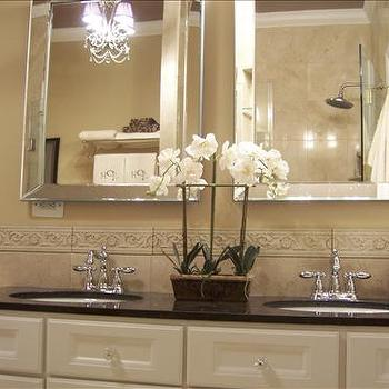 HGTV - bathrooms - beveled mirrors, beveled bathroom mirrors, ivory cabinets, ivory bathroom cabinets, ivory vanity, ivory bathroom vanity, ivoru vanity with black countertops, ivory double vanity,