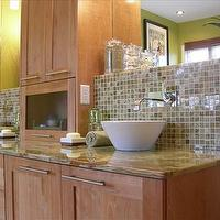 HGTV - bathrooms - vessel sink, glass tiles,  White porcelain vessel sinks, green & gray glass tiles and maple cabinets.