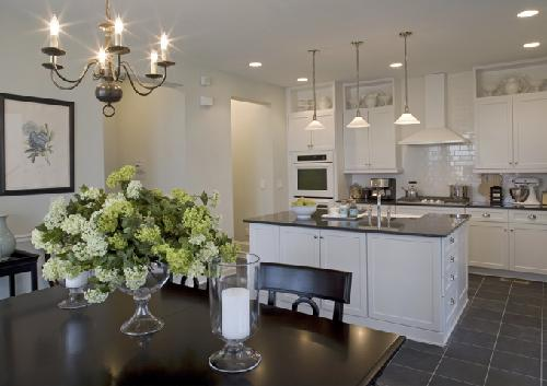 KB Home - kitchens - subway tiles, shaker cabinets, shaker kitchen cabinets, white shaker cabinets,  White kitchen cabinets, black granite countertops,