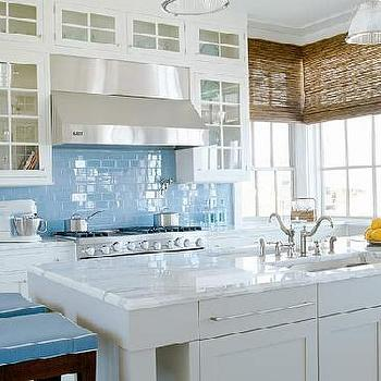 Blue Subway Tiles, Cottage, kitchen, Suzanne Kasler