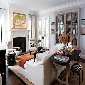 Glass Front Cabinet, Transitional, living room, Elle Decor