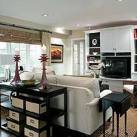 Candice Olson - living rooms - espresso, brown, tiered, console, tables, white, sofa, built-ins, shelves, cabinets, wicker, seagrass, chair, bamboo, roman sahdes, black, end table, green, pillow, cushion, brown, accent walls, candice olson living room, candice olson living rooms, candice olson rooms, candace olson design, candice olson interior design, candice olson,