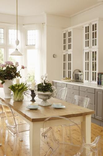 dining rooms - Ghost Chair gray kitchen cabinets white glass-front cabinets farmhouse dining table glass pendants white drapes  Thanks to living