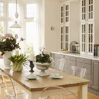 Living Etc - dining rooms - farmhouse dining table, ghost chairs, ghost dining chairs, lucite dining chairs, built in sideboard, gray sideboard, gray sideboard cabinet, built in hutch, glass front hutch, Ghost Chair,