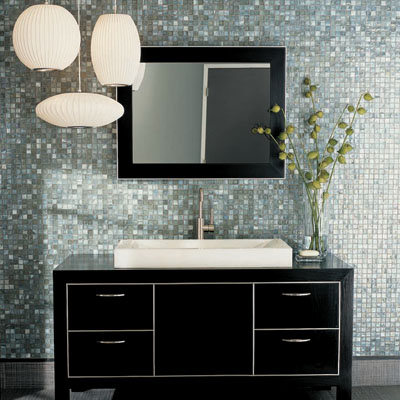 Awesome Modern Black Iridescent Glass Mosaic Tile Kitchen Backsplash Bathroom