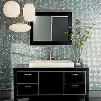 Walker Zanger - bathrooms - glass tiles, backsplash, paper, lanterns, pendants, black, chest, contemporary backsplash tiles, backsplash tiles, contemporary tile kitchen, blue glass tiles, blue glass backsplash tiles, blue glass tile kitchen, blue glass backsplash, Walker Zanger Vintage Glass Gloss Field Tiles,