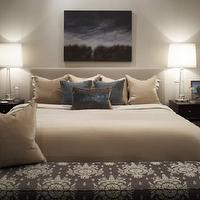 Kimberley Seldon Design Group - bedrooms - glass, column, lamps, gray, headboard, beige, blue, purple, pillows, espresso, nightstands, blue, black, wall, art, gray, lilac, silk, bench, beige and white bedding,