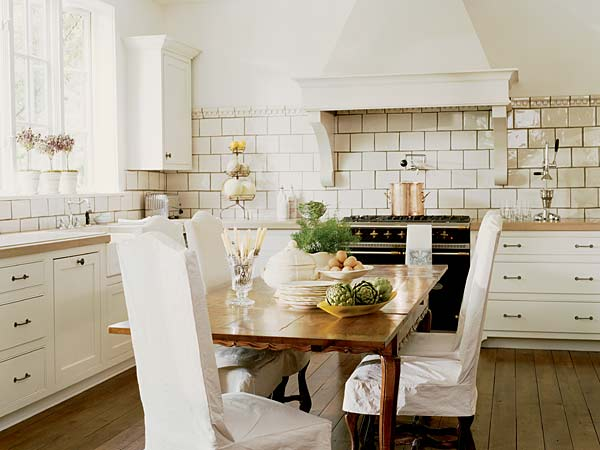 Mary Evelyn Interiors - kitchens - french country, french country kitchen, eat in kitchen, subway tiles, large subway tiles, large subway tile backsplash, slipcovered dining chairs,