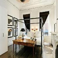 bedrooms: apartment, black, white, eclectic,  The juxtaposition of old and new is fabulous!  My dream Manhattan bedroom (minus the cheap closets