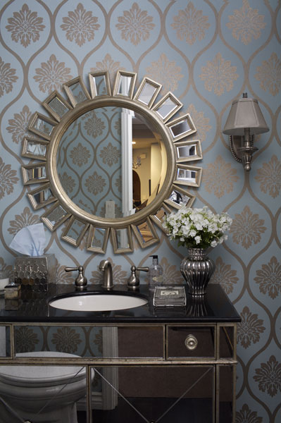 Jenn Feldman Designs - bathrooms - Borghese Vanity, Devon Mirror, Z Gallerie, walmart, sunburst, mirror, mirrored, sink, black, marble, metallic, green, gold, wallpaper, silver, sconces, gray, shades, bathroom, mirrored bathroom vanity,