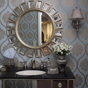 Jenn Feldman Designs - bathrooms - Z Gallerie, walmart, sunburst, mirror, mirrored, sink, black, marble, metallic, green, gold, wallpaper, silver, sconces, gray, shades, bathroom, mirrored bathroom vanity, Borghese Vanity, Devon Mirror,