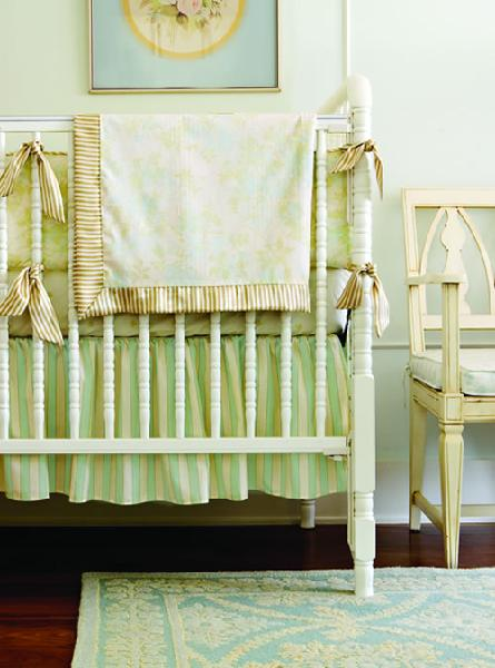 shabby chic nursery. nurseries - blue green crib