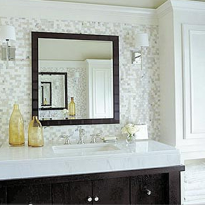 bathrooms - mosaic tiles, mosaic tile backsplash, white and gray mosaic tiles, white and gray mosaic tile backsplash, white and gray backspalsh, white and gray tiled backsplash, amber accents, amber bottles, amber glass bottles,