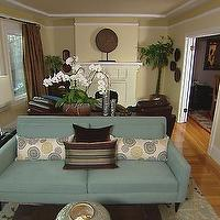 HGTV - living rooms - long living room, long living room ideas, teal sofa, teal couch, living room with two seating areas, yellow walls, , Room & Board Zinnia Pillow,