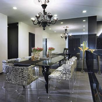 Living Pod - dining rooms - lucite chairs, lucite dining chairs, black dining table, lacquered dining table, black lacquered dining table, floor to ceiling mirror, dining room mirror,