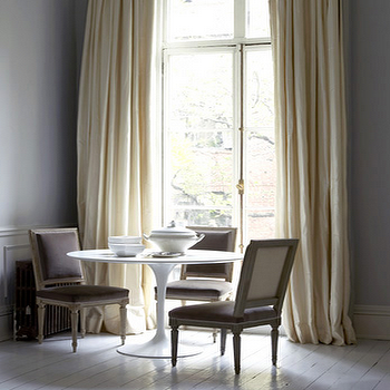 Cream Silk Curtains, Transitional, dining room