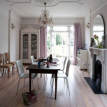 House to Home - dining rooms - lavender curtains, lavender crapes, dining room fireplace, french armoire, glass front armoire,  Dining Room with