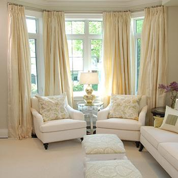 Sarah Richardson Design - living rooms - yellow curtains, yellow drapes, yellow silk drapes, yellow silk curtains, bay window, living room bay window, bay window chairs,