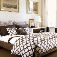 bedrooms - chocolate, brown, bedding, bamboo, brown, pillows, white, nightstand, ivory, drapes, wall, art, , lattice duvet, lattice bedding, white and brown duvet, white and brown bedding, white and brown lattice duvet, white and brown lattice bedding, bamboo bedding, bamboo duvet,