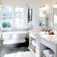 bathrooms - plantation shutters, beadboard, white, bathroom, vanity, double sinks, mirrors,  palmettobluff.com  clean white lines... - plantation