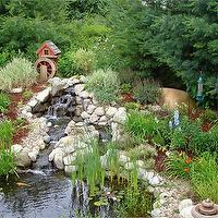 gardens - Koi pond, waterfall,  Our backyard koi pond and waterfall   The landscaping is still only 2 yrs old so it needs to still fill in.