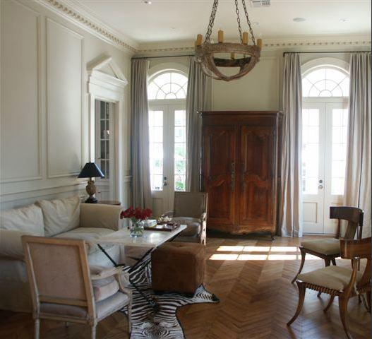 Wood Herringbone Floor Transitional Living Room