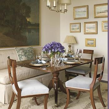 Phoebe Howard - dining rooms - skirted dining bench, tufted dining bench, linen dining bench,  comfortable, elegant eating area - dining table,
