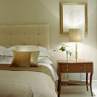Helen Green Design - bedrooms - bedroom, beige, cream, gold, lamp, art, cream headboard, tufted headboard, cream tufted headboard,  white tufted