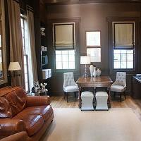 Magnolia Custom Homes - dens/libraries/offices - ivory, roman shades, white, tufted, chairs, desk, vases, crystal, lamps, white, leather, ottomans, nailhead trim, brown, leather, couch, sofa,