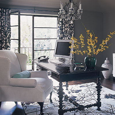 Burnham Design - dens/libraries/offices - black, colonial, desk, white, plush, wingback, chair, white, black, damask, drapes, black, white, floral rug, blue, velvet, bolster, pillow, jade, green, vase, charcoal gray walls, crystal, chandelier, black and white curtains, black and white drapes, black and white window panels, black and white drapery,