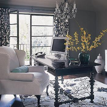 Black and White Curtains, Contemporary, den/library/office, Burnham Design