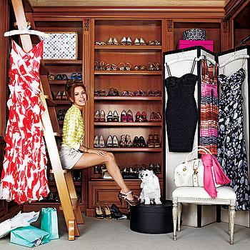 closets - closet ladder, celebrity closet, floor screen, closet floor screen, black and white floor screen,  Eva Longoria  shoe shelves, closet