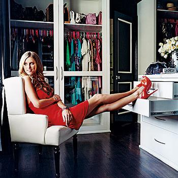 closets - dark wood floors, glass doors, closet with glass doors,  Nicky Hilton    Dark wood floors and lots and lots of drawers!
