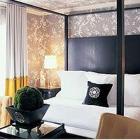 Kelly Wearstler - bedrooms - gray wallpaper, black, canopy, bed, tufted, chairs, mirror, canopy bed, black canopy bed,  Black canopy bed, white