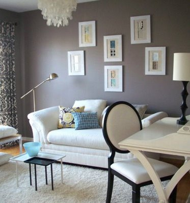 Flavia: Room from Cookie Mag  white sofa, white & black damask drapes, pharmacy floor lamp, ...