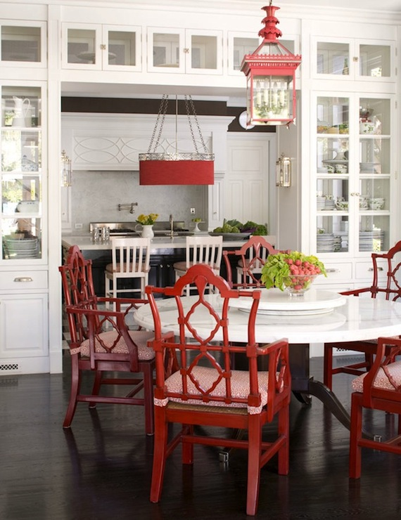 Suzie:  Windsor Smith Home  White, red & black chinoiserie dining room design. Love the red ...