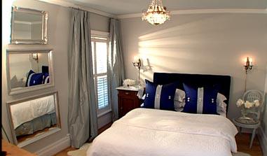 Navy Headboard Transitional Bedroom Sarah Richardson