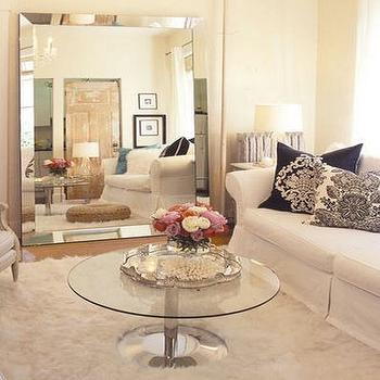 House & Home - living rooms - venetian beaded mirror, beaded mirror, venetian mirror, venetian beaded floor mirror, venetian floor mirror, venetian floor mirror, beaded floor mirror, glass top coffee table, rolled arm sofa, slipcovered rolled arm sofa, , Venetian Beaded Floor Mirror,