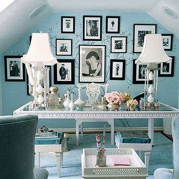 Mary McDonald - dens/libraries/offices - blue paint, blue paint color, blue office walls, blue office paint, blue office paint color, glass top desk, chinoiserie desk, blue rug, attic office, white and blue office,
