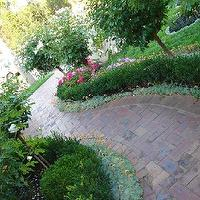 gardens - bushes, flowers, cobblestone, path, trees, brick walkway,  My sister-in-law's beautiful garden   Melbourne, Australia!