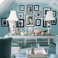 Mary McDonald - dens/libraries/offices - turquoise, blue, art, gallery, white, greek, key, desk, lamps, turquoise, blue, velvet, cushions, blue walls, blue paint, blue paint color, blue office walls, blue office paint, blue office paint color,