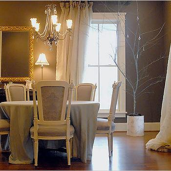dining rooms - taupe walls, taupe paint colors, taupe dining room, french dining room, french dining chairs,  dining room wall covering  taupe