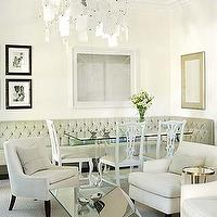 Sarah Richardson Design - dining rooms - tufted dining bench, dining bench, glass top dining table, glass topped dining table, white dining chairs, paper note chandelier,