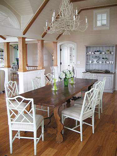 Frank Roop - dining rooms - white, faux, bamboo, chairs, chairs, rustic, farmhouse, dining table, white, chandelier, blue, gray, hutch, exposed, wood, beams,