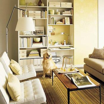 Martha Stewart - dens/libraries/offices - barcelona chair, white barcelona chair,  White tufted leather tufted Barcelona modern chairs, green