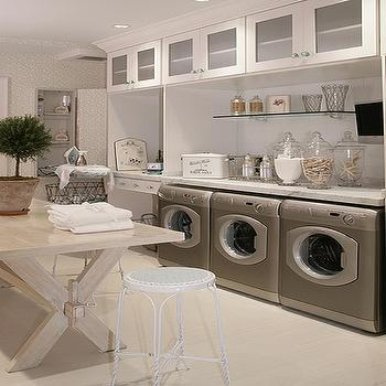 Martha Stewart - laundry/mud rooms: laundry room, laundry room ideas, laundry room table, x base table,  Laundry room inspiration - Sawhorse