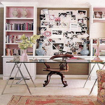 House Beautiful - dens/libraries/offices - sawhorse desk, polished chrome sawhorse desk, glass sawhorse desk, glass-top sawhorse desk, saw horse desk, chrome sawhorse desk, glass top sawhorse desk, glass topped sawhorse desk, pink lamp, pink table lamp,